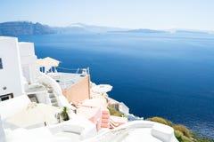 Aldea de Oia en la isla de Santorini, Grecia Fotografía de archivo libre de regalías
