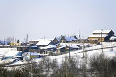Aldea del invierno Foto de archivo libre de regalías