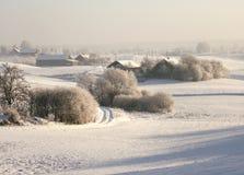 Aldea del invierno fotografía de archivo libre de regalías