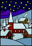 Aldea del invierno de la Navidad Fotos de archivo libres de regalías