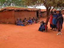 Aldea del Masai Imagen de archivo libre de regalías