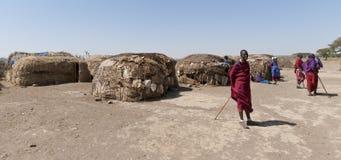 Aldea del Masai foto de archivo