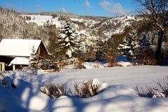 Aldea en invierno Fotografía de archivo