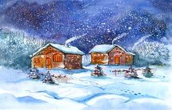 Aldea en invierno stock de ilustración