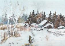 Aldea en invierno Imagen de archivo