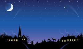 Aldea en la noche. stock de ilustración