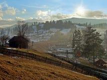 Aldea en montañas Foto de archivo libre de regalías