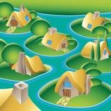 Aldea en un río stock de ilustración