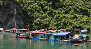 Aldea flotante en la bahía Vietnam de Halong fotos de archivo