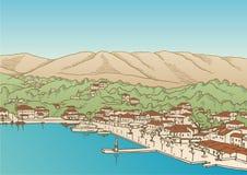 Aldea por el mar libre illustration