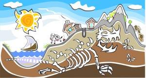 aldea sobre un esqueleto gigante del dinosaurio Foto de archivo libre de regalías