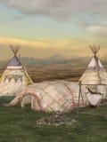 Aldea tradicional de la tienda de los indios norteamericanos Foto de archivo libre de regalías