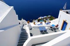 Aldea tradicional de Thira en Santorini Fotografía de archivo libre de regalías