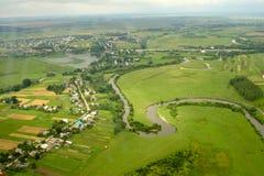 Aldea ucraniana - visión aérea. Foto de archivo