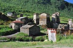 Aldea Usghuli en Svaneti, Georgia Imagen de archivo