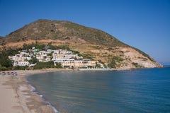 Aldea y playa de Fodele Fotos de archivo libres de regalías