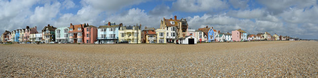 Aldeburgh Seafront Panorama. Suffolk England royalty free stock photography