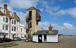 Aldeburgh-Seeseite-Uhr-Turm Stockbild