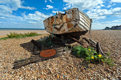 Aldeburgh suffolk old fishing boat. An beach Royalty Free Stock Images