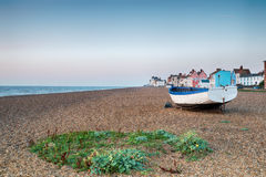 Aldeburgh in Suffolk. The shingle beach and pretty seaside town of Aldeburgh on the Suffolk coast Stock Photo