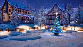 Aldeia da montanha alpina na noite de Natal nevado ilustração stock