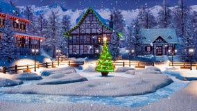 Aldeia da montanha alpina nevado na noite de Natal ilustração stock