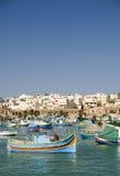 Aldeia piscatória de Marsaxlokk malta Fotos de Stock Royalty Free