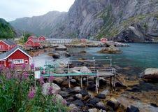 Aldeia piscatória em Noruega Imagens de Stock