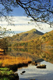 Alder framed, Moel Hebog from Llyn Gynant shore Stock Images