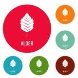 Alder leaf icons circle set. Isolated on white background stock illustration
