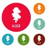 Alder tree icons circle set. Isolated on white background royalty free illustration