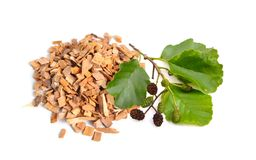 Alder wood chips with plant isolated on white background.  stock images