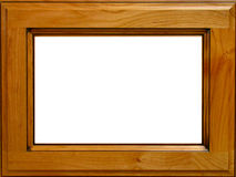 Alder Wood Picture Frame. Empty solid alder wood picture frame, isolated on white background Royalty Free Stock Photos