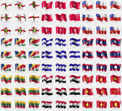 Alderney, Isle of man, Chile, Seychelles, El Salvador, Laos, Lithuania, Iraq, Vietnam. Big set of 81 flags. Stock Photos
