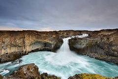 Aldeyjarfoss is an amazing waterfall in northern Iceland. Icelandic natural landscape at sunrise. Stock Photo