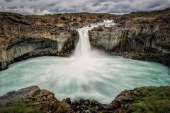 Aldeyjarfoss Waterfall, Iceland. Aerial of soft blur of Aldeyjarfoss Waterfall, Iceland Stock Photos