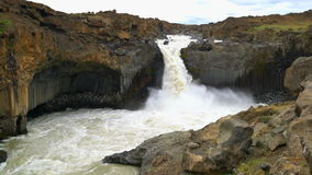 Aldeyjarfoss waterfall in the north of Iceland  stock video