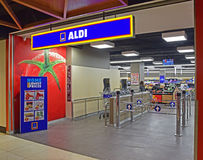 Entrance to ALDI supermarket inside a commercial building in Sydney, Australia. ALDI is a discount supermarket originating from Germany that is well known in stock photography