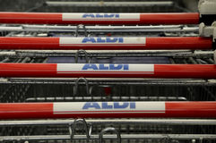 ALDI GROCERY AND FOOD STORE_GERMAN CHAIN MARKET Stock Photo