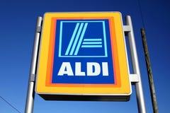 Aldi logo advertising sign Royalty Free Stock Photo