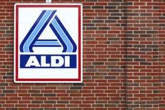Aldi logo on a facade Stock Image