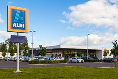 Aldi logo and store royalty free stock images