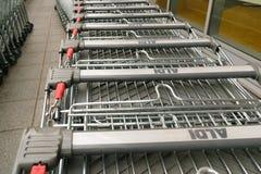 Aldi row of trolleys Royalty Free Stock Image