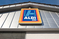 Aldi sign at a German branch. South division - Aldi is a leading global discount supermarket chain with almost 10,000 stores in 18 countries Royalty Free Stock Image