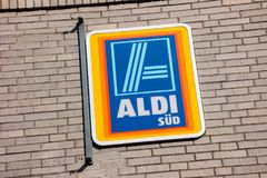 Aldi sign south division Stock Image