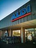 Aldi Store logo on the entrance royalty free stock image