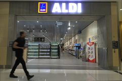 Aldi Supermarket in Canberra Australia. Aldi Supermarket a two German family owned discount supermarket chains with over 10,000 stores in 20 countries, and an royalty free stock photo
