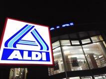 Aldi-Supermarkt Signage Lizenzfreies Stockfoto