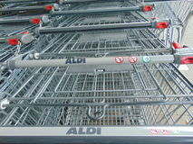 Aldi Trolly. An image of Aldi trollies located in Naas, Co-Kildare Stock Photography