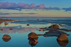 aldingham βράχοι παλιρροιακοί στοκ φωτογραφία